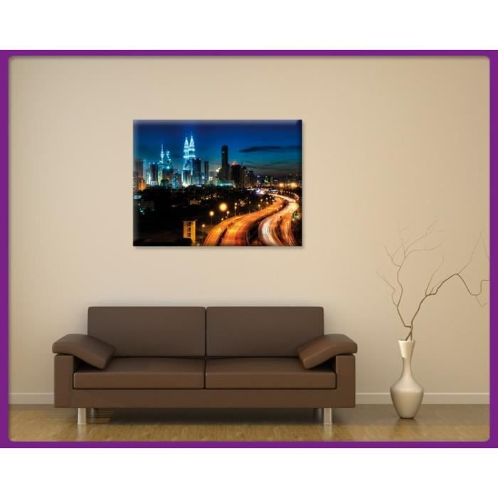 bilderdepot24 impression sur toile kuala lumpur la nuit 40x30cm achat vente tableau. Black Bedroom Furniture Sets. Home Design Ideas