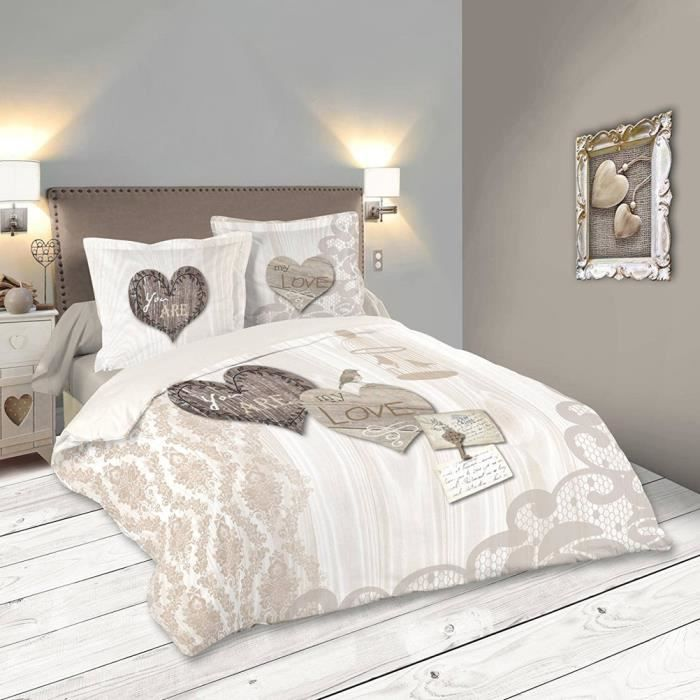 parure de lit bonheur 260 x 240 cm achat vente housse. Black Bedroom Furniture Sets. Home Design Ideas