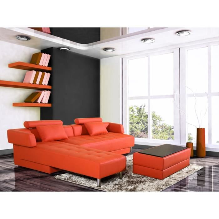 canap d 39 angle winch cuir synderme orange achat vente canap sofa divan cdiscount. Black Bedroom Furniture Sets. Home Design Ideas