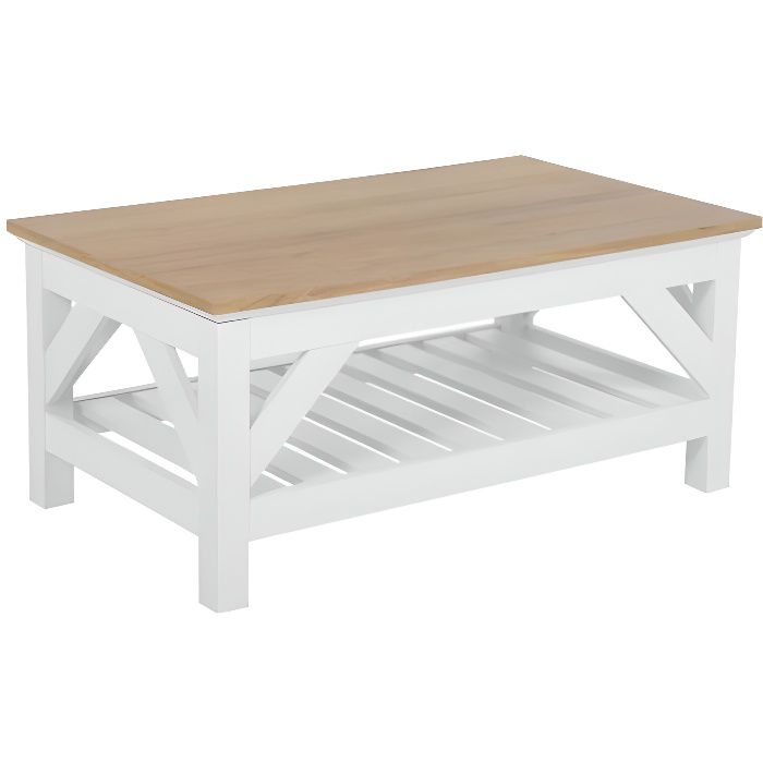 beliani table basse bois clair blanc 100 x 60 cm savannah