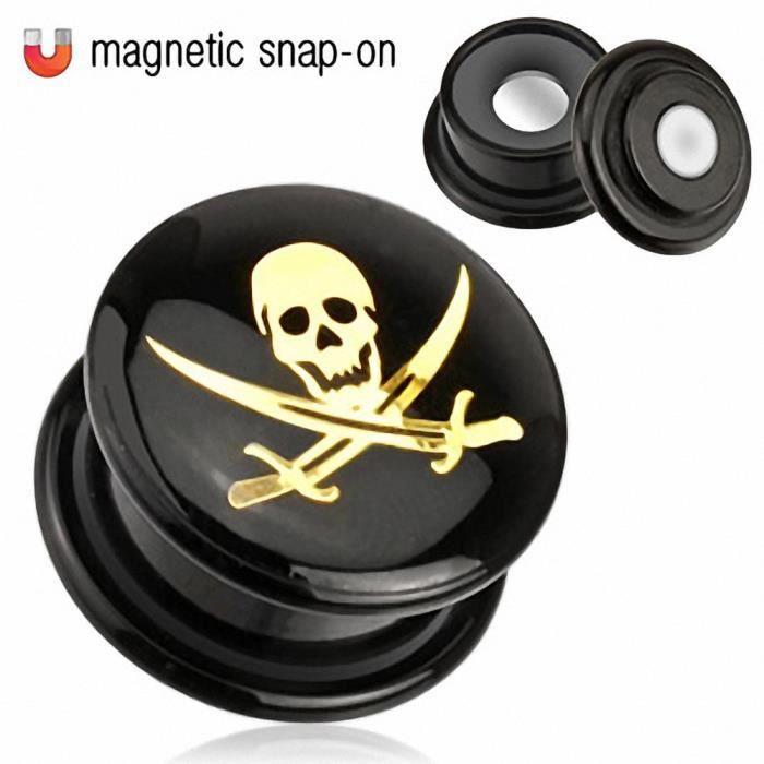 Piercing plug acrylique crâne de pirate