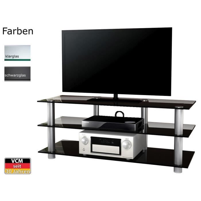 posio 140 big xxl meuble tv hifi video commode rangement verre noir achat vente meuble tv. Black Bedroom Furniture Sets. Home Design Ideas