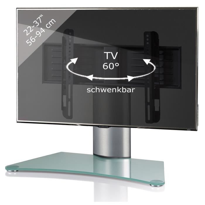 windoxa support fixe pour tv cran plat verre opaque pied gris achat vente meuble tv windoxa. Black Bedroom Furniture Sets. Home Design Ideas