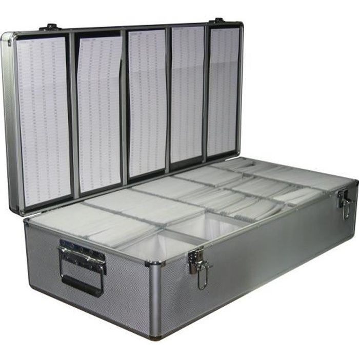 valise de rangement 1000 cd dvd alu argent ou noir prix. Black Bedroom Furniture Sets. Home Design Ideas