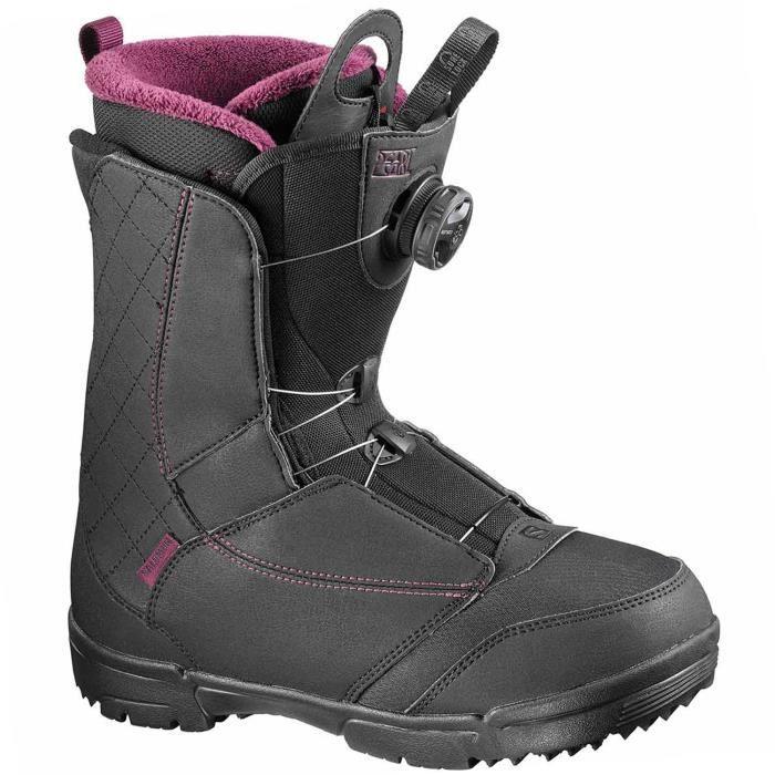 SALOMON Pearl Boa Boots Snowboard Femme Taille 23.5 NOIR