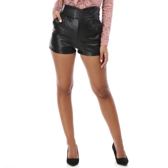 short noir simili cuir taille haute