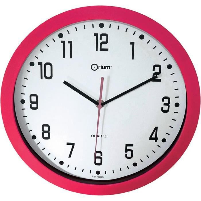 quartz horloge murale silencieuse 30cm fushia achat vente horloge abs anti choc cdiscount. Black Bedroom Furniture Sets. Home Design Ideas