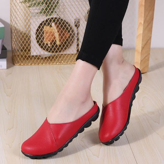 Flats Flats Flats femmes Pure Color Soft Chaussures fond mou Slip-On Chaussures bateau Casual  rouge_GEI*1488 Rouge Rouge - Achat / Vente slip-on d4d16a