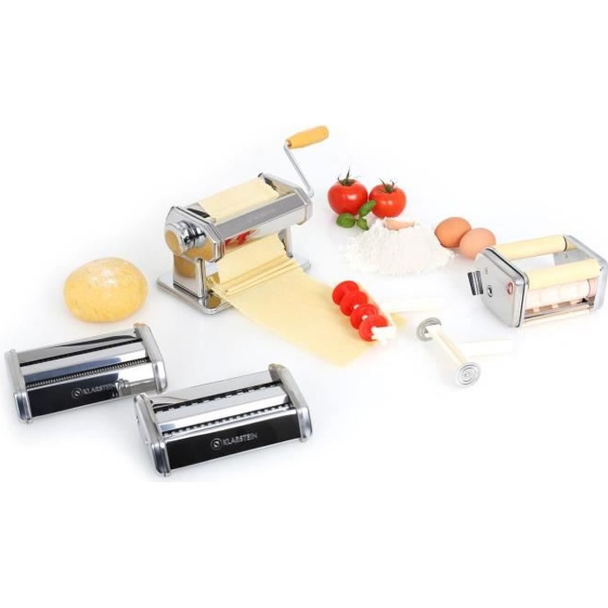 klarstein pasta maker machine a pate appareil p tes fraiches double lame avec 3 accessoires. Black Bedroom Furniture Sets. Home Design Ideas