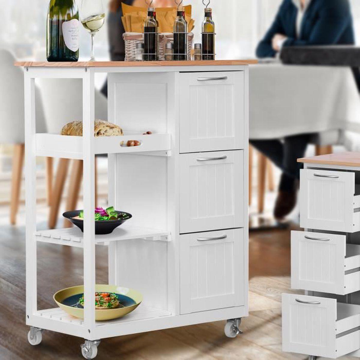 Cuisine Avec Plan De Travail Coulissant chariot de cuisine à roulettes - en bois, 67 x 37 x 84 cm
