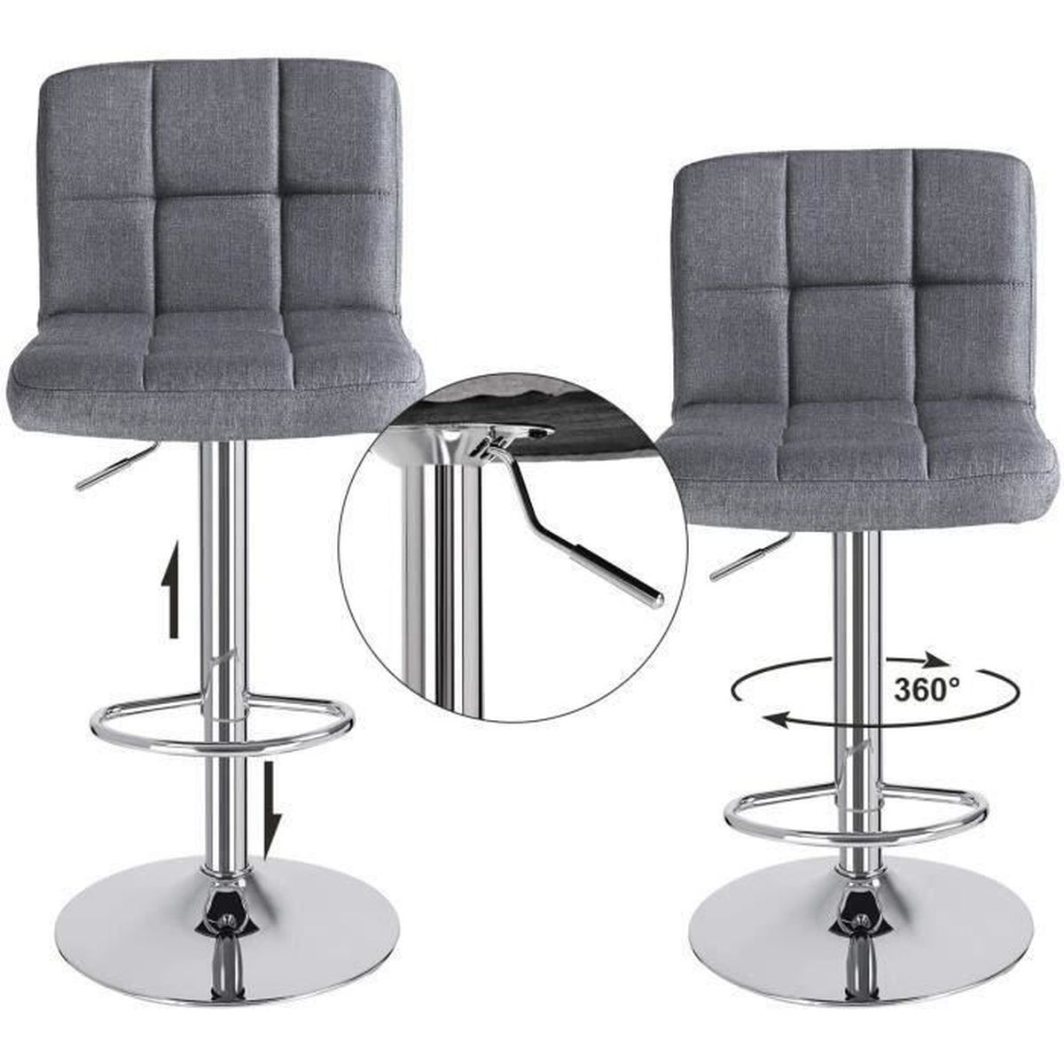 tabouret de bar gris achat vente tabouret haut pas cher cdiscount. Black Bedroom Furniture Sets. Home Design Ideas