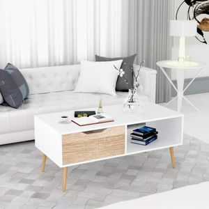 TABLE BASSE Homfa Table de Salon Scandinave Table Basse Café B