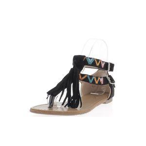 SANDALE - NU-PIEDS Nu-pieds femme noirs avec motifs colorés à frange