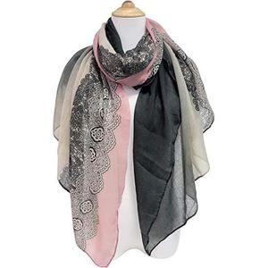 Foulard écharpe écharpe doux descendant 9 102 noir gris étoiles a motifs neuf
