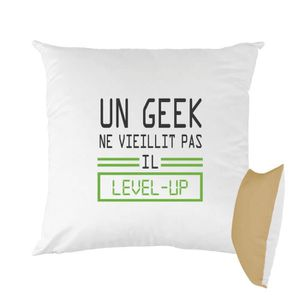 HOUSSE DE COUSSIN Coussin bicolore imprimé 40x40 cm geek level up mo f19685d3a48b