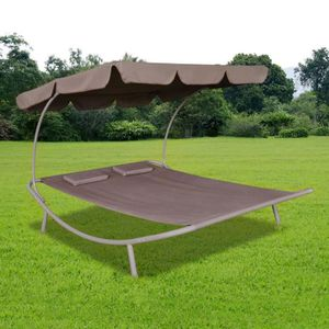 CHAISE LONGUE Chaise longue double Chaise de jardin avec auvent