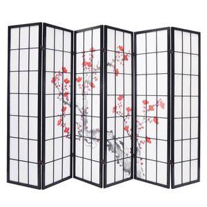 PARAVENT Paravent bois noir avec fleurs de cerisier de 6...