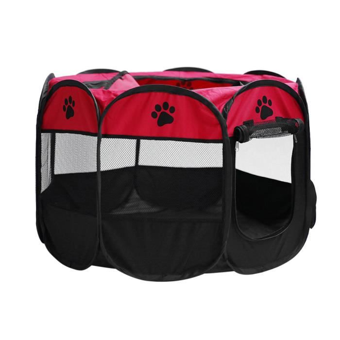 TENTE de animal Pliable Portable Chien / Chat / Lapin / Chiot Pet Parc Stylo D'exercice Oxford Tissu - Taille S (Rouge)