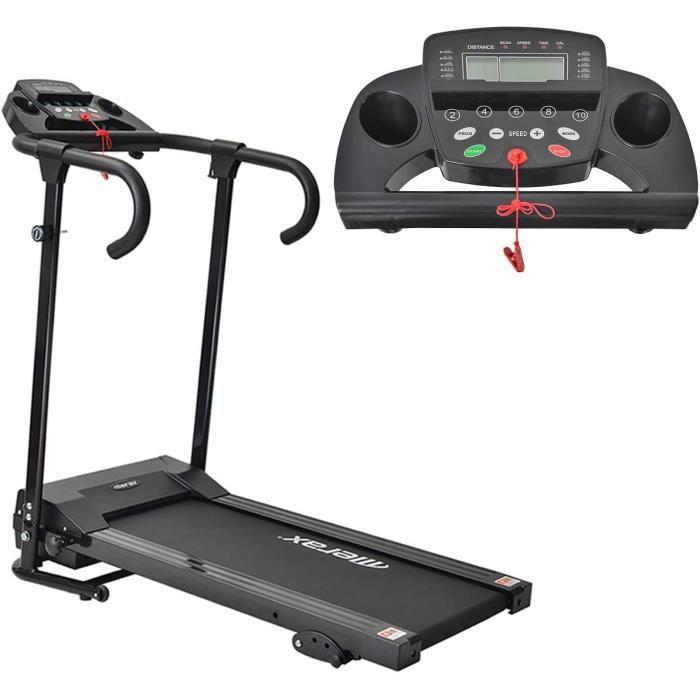 Merax Tapis de Course, Tapis Roulant Pliable électrique Compact escamotable avec écran LCD et Support pour Tablette, Motorisé 10km/