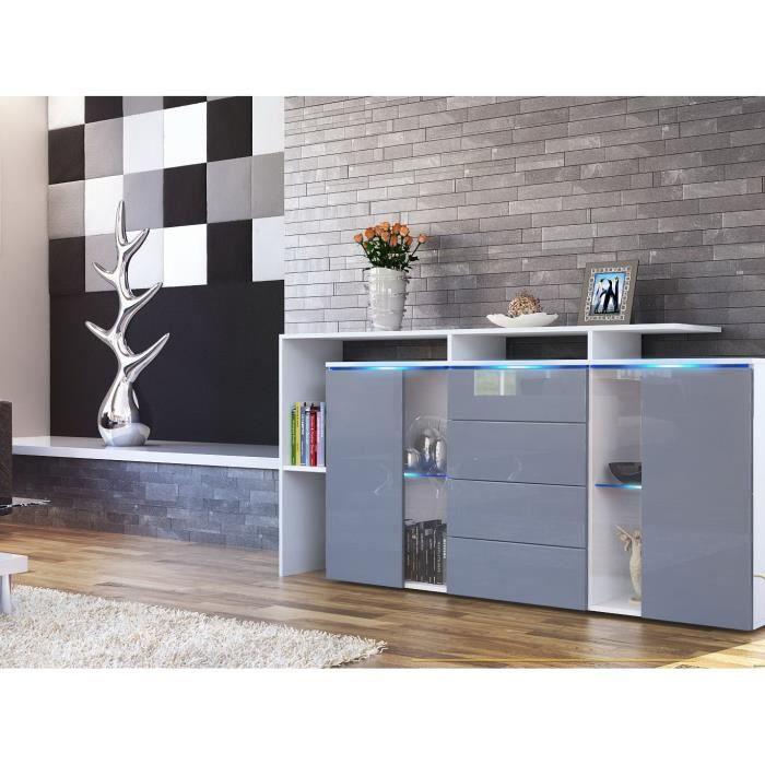 Bahut laqué blanc et gris,4 tiroirs 160 cm