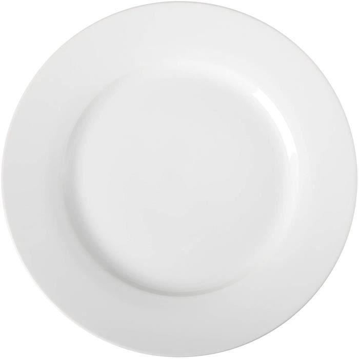 AmazonBasics Service de 6 Assiettes Plates en Porcelaine,10.5'