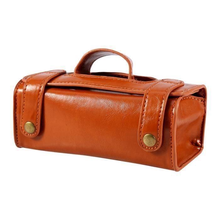 BOYOU Pochette à maquillage portable pour hommes en cuir brun avec brosse à raser en cuir et sac de toilette pour rasoir