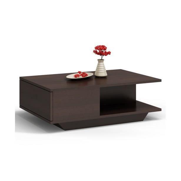 ZEKE - Table basse contemporaine - 90x60x42cm - Table à café style scandinave salon séjour bureau - Wengé