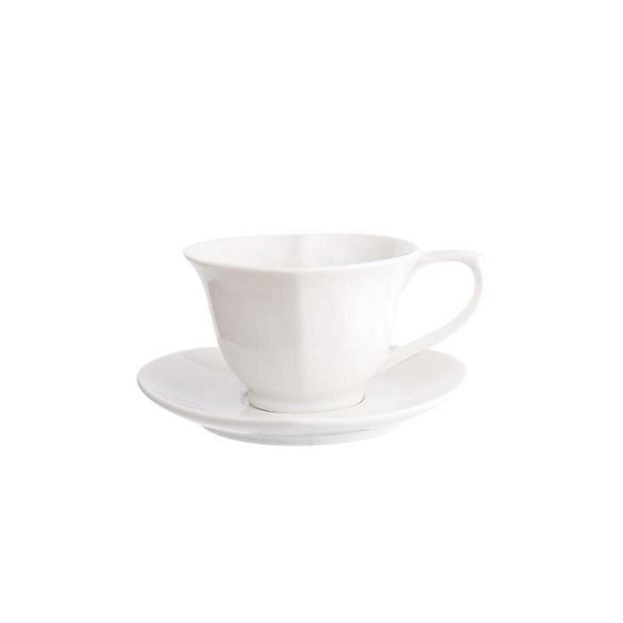 Service à café avec soucoupes,CHANSHOVA – ensemble tasses à café et soucoupes en céramique, 180ml, service à - Type WHITE - 180ml