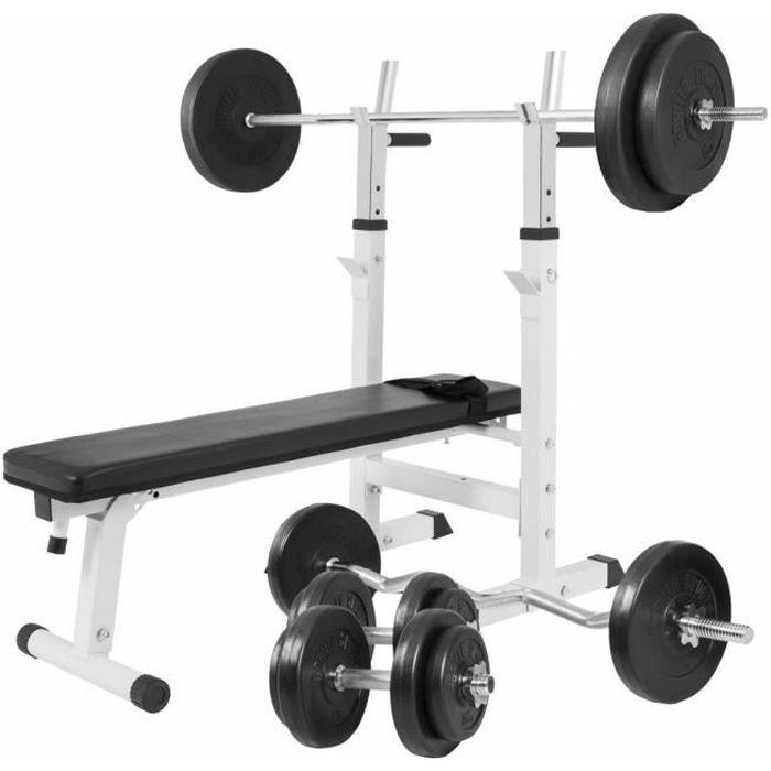 Banc de musculation simple avec set d'haltères de 97,5KG