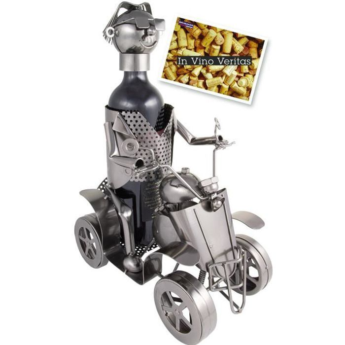BRUBAKER Support pour Bouteille de vin avec conducteur et Objet décoratif en métal argenté – Support pour Bouteille