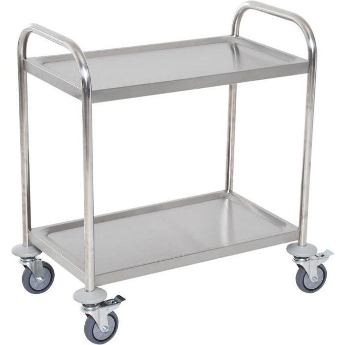 Chariot de service desserte de cuisine à roulettes 2 étagères / 3 étagères acier inox. Chromé 71x41x81cm Gris