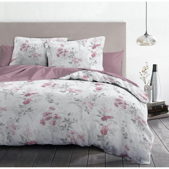 Parure de Draps 4 Pièces POMPADOUR - 100% Coton 57 Fils - 2 Personnes 240x300 cm - Vieux rose Blanc