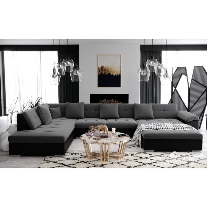 ATIS - Canapé d'angle panoramique XXL en U - en Tissu et simili cuir - Gauche gris et noir