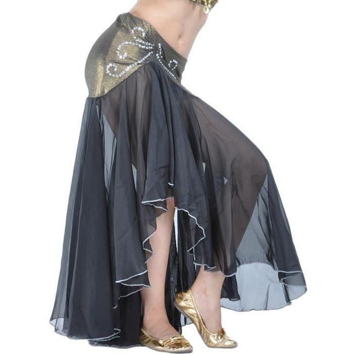 Femme Longue Jupe De Danse Professionnel Arabe Orientale Belly Danse Noir Taille unique