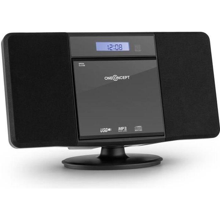 oneConcept V-13 Mini chaîne HiFi stereo ultra plate avec radio AM/FM , lecteur CD compatible MP3 , port USB , réveil et AUX - Noir