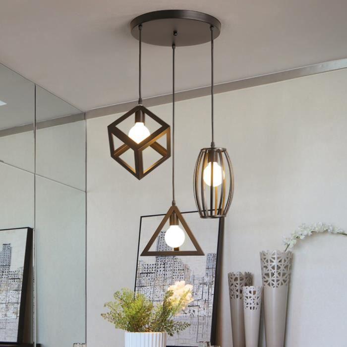 Lustre industriel - Métal - 3 Lampes - Rétro