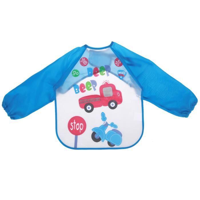 1 Pc bavoir à manches et résistant aux odeurs lavable imperméable bébé peinture vêtements enfant en bas âge smock pour BAVOIR