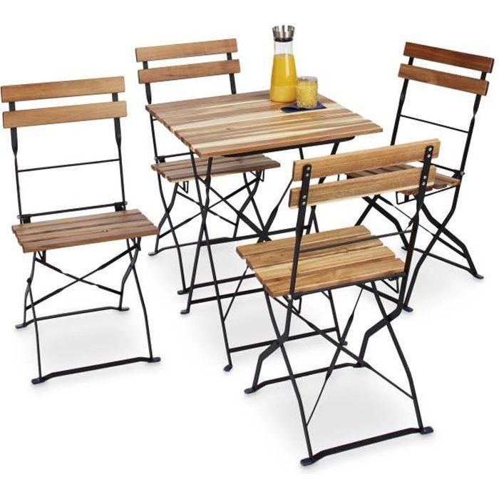 Relaxdays Chaise de jardin pliante lot de 4 en bois nature et métal sans accoudoir HxlxP: 84 x 42 x 44 cm, marron nature