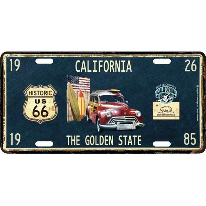 Plaque en métal 15 X 30 cm Parcours de la mythique Route 66 : California