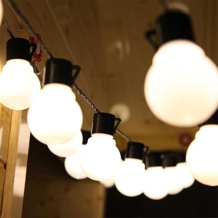 Guirlande Lumineuse, Guirlande Guinguette 10m 38pcs 5CM Grosse Boule LED Ampoule Blanc Chaud , Décoration intérieur et extérieur