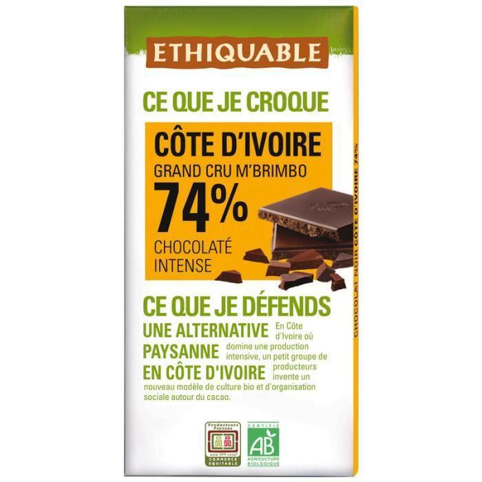 ETHUIQUABLE Chocolat Noir 74% Bio - 100g