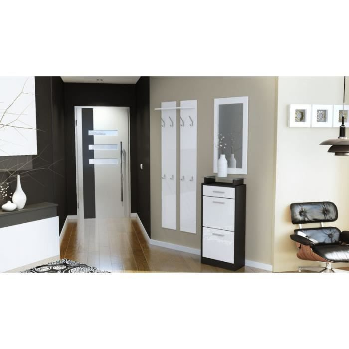 Ensemble de hall d 39 entr e laqu design noir et blanc for Hall entree maison design