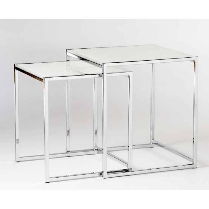 Tables d 39 appoint gigogne en m tal chrom et verre achat for Table d appoint moderne