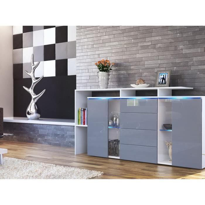 bahut laqu blanc et gris 4 tiroirs 160 cm achat vente buffet bahut bahut laqu blanc et. Black Bedroom Furniture Sets. Home Design Ideas