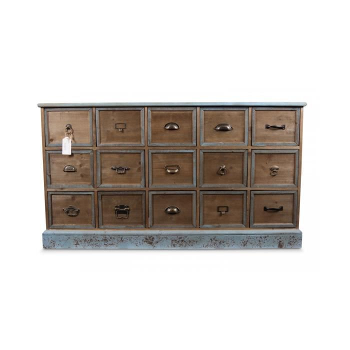 meuble semainier chiffonnier grainetier bois 15 tiroirs bleu vieilli achat. Black Bedroom Furniture Sets. Home Design Ideas