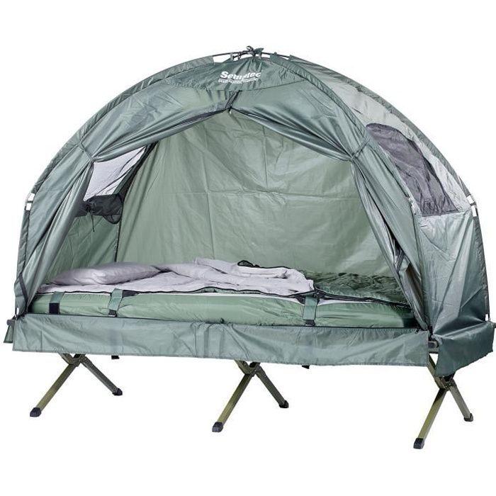 Une personne lit tente Extérieur Tente surélevée camping abri lit portable Cabine