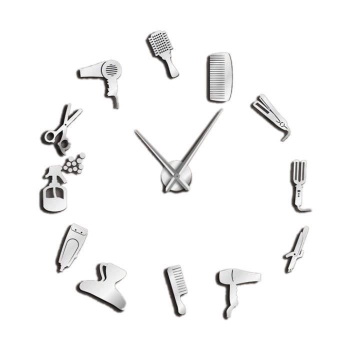 Barbier De Coiffure Salon de Beauté À faire soi-même géant Big aiguille Sans Cadre Horloge Murale