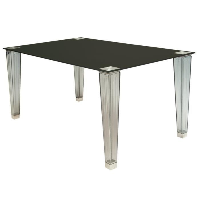 table rectangulaire en verre laqu noir 160 cm achat vente table de cuisine table. Black Bedroom Furniture Sets. Home Design Ideas