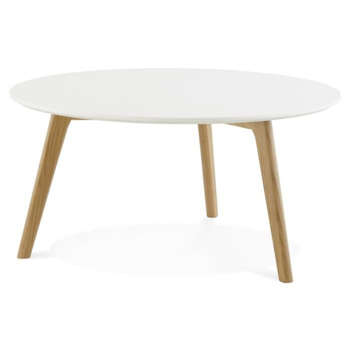 Table basse de salon ronde 39 koty 39 style scandinave achat for Table carree style scandinave
