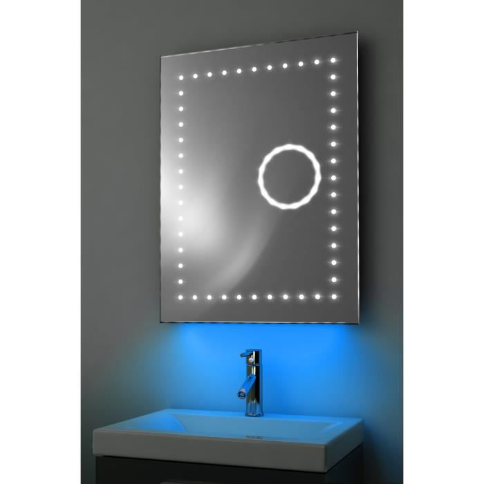 miroir toilette horloge r tro clairage bluetooth anti bu e capteur k101baud bleu taille l. Black Bedroom Furniture Sets. Home Design Ideas